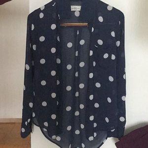 Blue and white polka dot button down